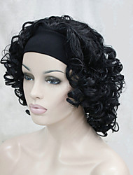 cheap -new fashion 3 4 wig with headband women s short curly synthetic half wig
