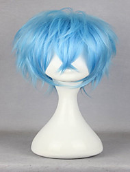 Top Quality  Costume Wig Anime Karneval Karoku 35cm Short Curly Light Blue Synthetic Fashion Man Party Cosplay Wigs