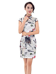 cheap -One-Piece Short Sleeve Medium Length White Lolita Dress Polyester