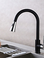 Contemporary Pull-out/­Pull-down Deck Mounted Pullout Spray Ceramic Valve Single Handle One Hole Chrome , Kitchen faucet