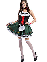billige -Kostume Oktoberfest / Karriere Kostumer Jul / Karneval / Nytår / Oktoberfest Grøn Farveblok Terylene Nederdel