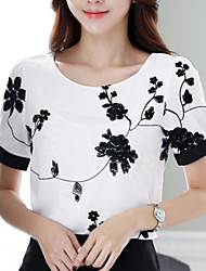 cheap -Women's Casual Embroidery Short Sleeve Regular Blouse (Chiffon)