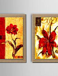 preiswerte -Handgemalte Abstrakt Stillleben Fantasie Blumenmuster/Botanisch Vertikal, Modern Traditionell Europäischer Stil Segeltuch Hang-Ölgemälde