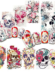 cheap -1pcs Nail Sticker Halloween Nail Decals Water Transfer For Sexy Girl Skull Cartoon Patterns DIY Color Tips Manicure