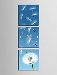 baratos -Moderno/Contemporâneo Outros Relógio de parede,Quadrada Tela 25 x 25cm(10inchx10inch)x3pcs Interior Relógio