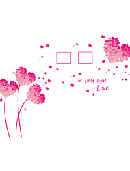 cheap -Wall Stickers Wall Decals Style Pink Love Grass Dandelion Photo Frame PVC Wall Stickers