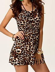 Недорогие -Weina женщин печати леопарда causual моды Bodycon платье