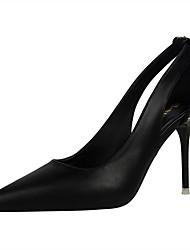 Damen-High Heels-Kleid-Kunstleder-Stöckelabsatz-Komfort-Schwarz / Braun