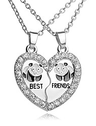 cheap -Men's Women's Heart Rhinestone Silver Plated Pendant Necklace Y-Necklace - Cute Work Casual Love Heart Initial Jewelry Fashion European