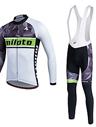 Miloto Cycling Jersey with Bib Tights Men's Unisex Long Sleeves Bike Tracksuit Jersey Tights Bib Tights Pants/Trousers/Overtrousers Tops