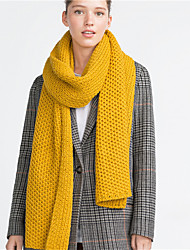 cheap -Women Vintage Casual Rectangle Solid Color Coarse Lines Knitting Yellow Long Scarf