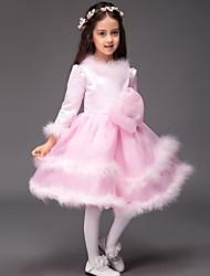 vestito dalla ragazza del fiore di lunghezza del ginocchio dell'abito di sfera - collo del gioiello dei manicotti lunghi del raso dai lovelybees