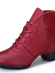 "cheap -Women's Modern Dance Boots Leather Boots Split Sole Outdoor Lace-up Low Heel Black Red 1"" - 1 3/4"" Non Customizable"