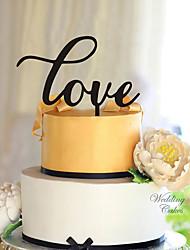baratos -Decorações de Bolo Tema Clássico Corações Acrílico Casamento com Flor 1 Caixa de Ofertas