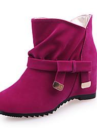 povoljno -Žene Cipele Umjetna koža Zima Proljeće Jesen Modne čizme Čizme Wedge Heel Mašnica za Kauzalni Zabava i večer Crn Bež Crvena