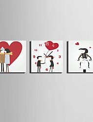 cheap -MINI SIZE E-HOME Cartoon Lovers Clock in Canvas 3pcs