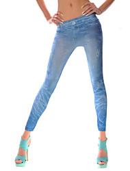 Damen Einfarbig Bedruckt Legging,Polyester