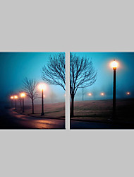 cheap -E-HOME® Stretched LED Canvas Print Art Street Lamp Flash Effect LED Flashing Optical Fiber Print Set of 2