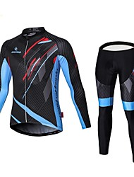cheap -Malciklo Cycling Jersey with Tights Men's Long Sleeves Bike Compression Clothing Tights Clothing Suits Quick Dry Front Zipper Wearable