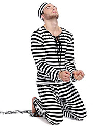cheap -Prisoner Cosplay Costume Party Costume Male Christmas Halloween New Year Festival / Holiday Halloween Costumes Striped