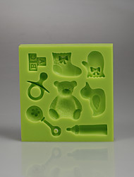 Teddy bear cartoon series shape fondant cake silicone mold Color Random