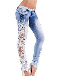 Women's Lace Color Block Blue Jeans PantsStreet chic