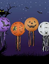 4pcs Halloween papier citrouille lanterne de halloween fournit des accessoires décoratifs hantées maison scène lanternes de papier de