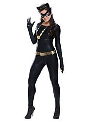 abordables -Gato Disfrace de Cosplay / Ropa de Fiesta Mujer Halloween Festival / Celebración Disfraces de Halloween Negro Un Color