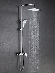 Недорогие -Современный Душевая система Дождевая лейка Широко распространенный Керамический клапан Два отверстия Две ручки двумя отверстиями Хром ,