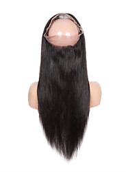 Недорогие -человеческие волосы Remy Парик стиль Бразильские волосы Прямой Парик 130% Плотность волос Природные волосы Парик в афро-американском стиле 100% ручная работа Жен. Короткие Средние Длинные