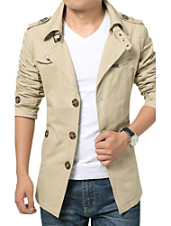 cheap -Men's Daily Simple Casual Winter Fall Trench coat,Solid Shirt Collar Long Sleeve Regular N/A