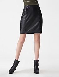 cheap -Women's Solid Black SkirtsCasual Mini