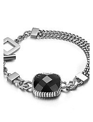 Multi Cutting Obsidian Link Chain Charm Bracelets