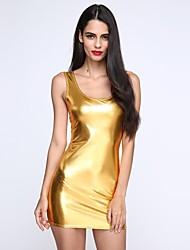 cheap -Women's Deep U Mini Dress , PU Black/Gold/Silver Sexy/Bodycon/Casual/Party/Work