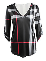 cheap -Women's Daily Vintage / Casual Fall / Winter T-shirtPlaid V Neck  Sleeve Pink / White / Black Cotton / Rayon Thin