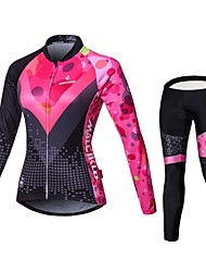 cheap -Malciklo Women's Long Sleeves Cycling Jersey with Tights - Black/Pink British Bike Bib Tights Jersey Clothing Suits, 3D Pad, Quick Dry,
