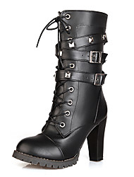 Women's Boots Spring / Fall / Winter Fashion Boots / Combat Boots Leatherette Party & Evening / Casual Chunky HeelRivet