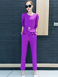 Feminino Conjunto Calça Suits Informal Moda de Rua Outono,Sólido Vermelho / Preto / Roxo Poliéster Decote Redondo Manga Longa Média