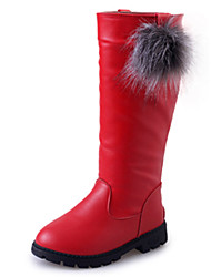cheap -Girls' Shoes PU Winter Fashion Boots Boots Walking Shoes for Black / Red / Burgundy