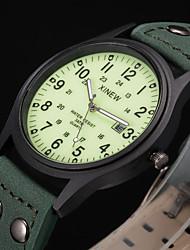 Недорогие -Муж. Спортивные часы Модные часы Армейские часы Кварцевый Кожа Зеленый Защита от влаги Календарь Фосфоресцирующий Аналоговый Винтаж На каждый день - Зеленый
