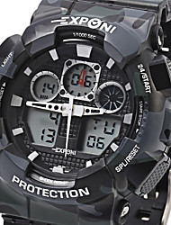 cheap -EXPONI Men's Sport Watch / Military Watch / Wrist Watch Alarm / Calendar / date / day / Chronograph Silicone Band Luxury / Casual / Camouflage Black / White / Blue / Water Resistant / Water Proof