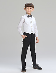 cheap -Silver White+Blue Balck+white White/Black Cotton Ring Bearer Suit - Four-piece Suit Includes  Jacket Pants Shirt Bow Tie