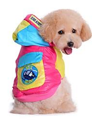 baratos -Gato / Cachorro Casacos / Camisola com Capuz Roupas para Cães Estampa Colorida Rosa / Azul Algodão Ocasiões Especiais Para animais de estimação Homens / Mulheres Mantenha Quente / Fashion