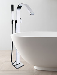 Contemporary Floor Mounted Handshower Included Floor Standing Ceramic Valve Single Handle One Hole Chrome , Bathtub Faucet