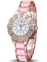 Women's Fashion Quartz Ceramic Diamond Casual Watch Unique Watch Cool Watch Round Alloy Dial Watch