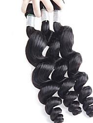 Недорогие -Натуральные волосы Бразильские волосы Человека ткет Волосы Свободные волны Наращивание волос 3 предмета Черный