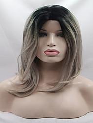 Недорогие -Синтетические кружевные передние парики Жен. Волнистый Омбре Стрижка боб Искусственные волосы Боб с прямым пробором Омбре Парик Лента спереди Серый