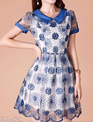 Недорогие -Chaoliu с коротким рукавом из органзы платье (синий)