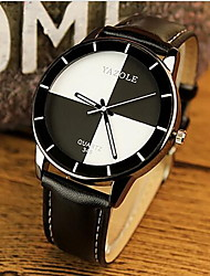 YAZOLE Women's Fashion Watch Casual Watch Quartz Casual Watch Leather Band Black White Red