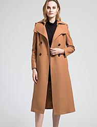 BORME Women's Shirt Collar Long Sleeve Wool & Blends Black / Red / Camel-Y057